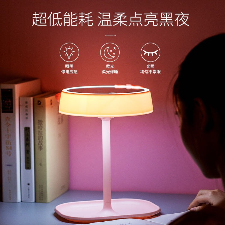 化妝補光鏡 三段LED燈光切換 化妝鏡檯燈 可調光鏡子 觸控美容鏡 補妝鏡 智能觸控 90度旋轉 小臺燈 智能化妝鏡