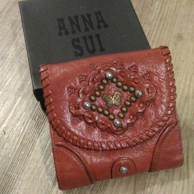 Anna sui專櫃品牌暗紅色短夾