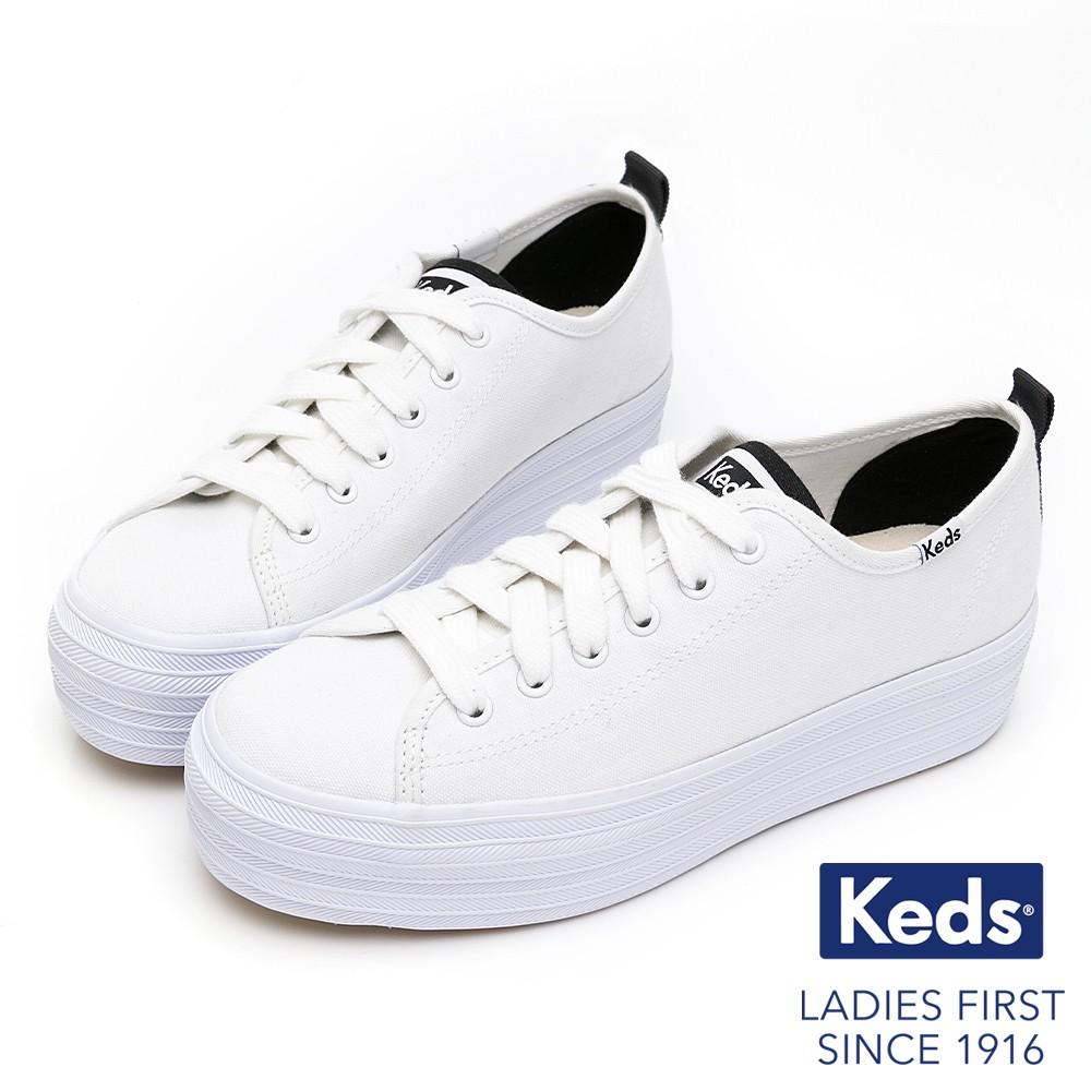 Keds TRIPLE UP 小心機厚底有機棉綁帶休閒鞋-白