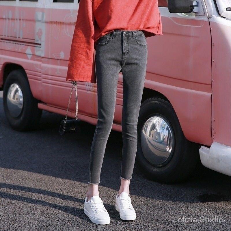 秋冬修身女彈力破洞學生黑色灰色高腰牛仔褲顯瘦鉛筆褲韓版小腳褲