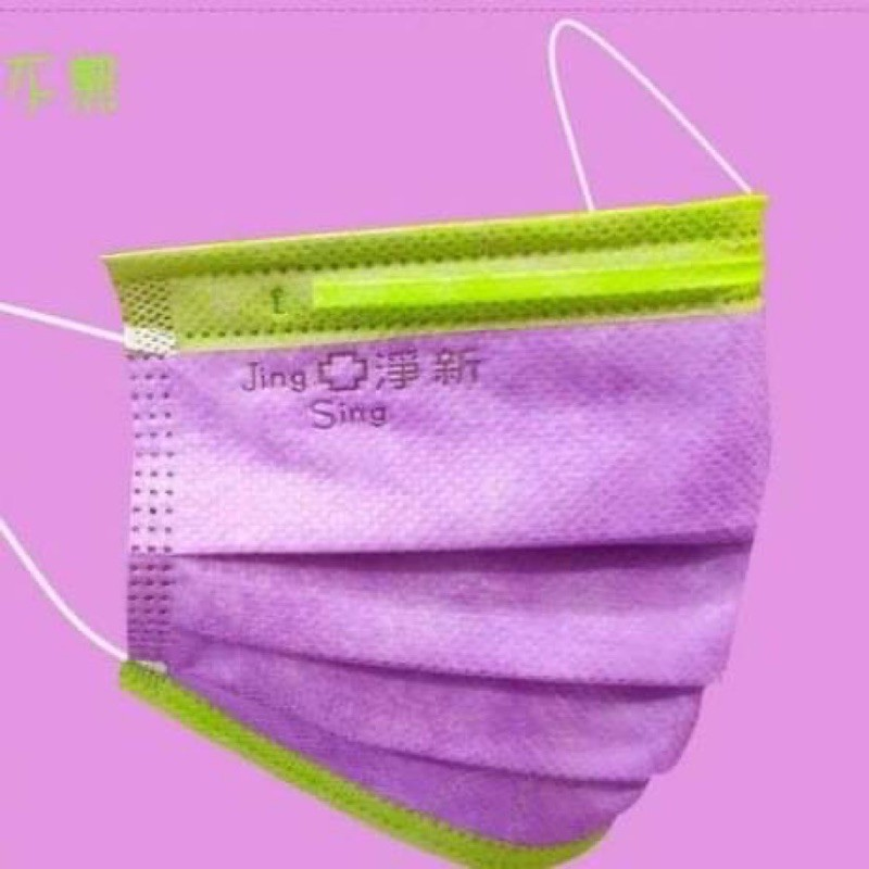 台灣淨新醫療平面撞色成人口罩50入紫色綠邊 (茄紫)
