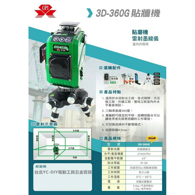雙十一熱賣 GPI 3D-360G 貼磨 機 基 綠光 懸吊式 墨線雷射儀 雷射水平儀 4垂直4水平