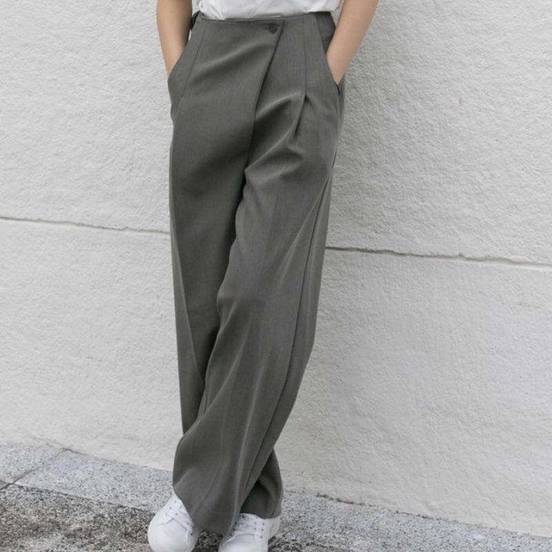 Wuzo斜釦修身挺版寬褲-全新