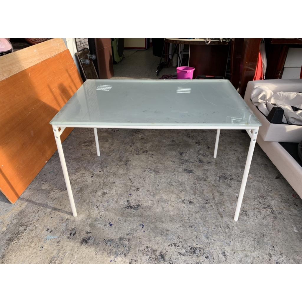 香榭二手家具*IKEA鐵腳 玻璃餐桌-簡餐桌-飯桌-休閒桌-簽約桌-洽談桌-餐廳桌-玻璃桌-會客桌-火鍋桌-工作桌-中古