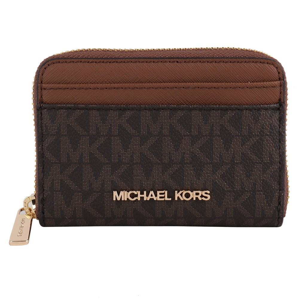 MICHAEL KORS-金字防刮皮革卡片夾包(咖X駝)