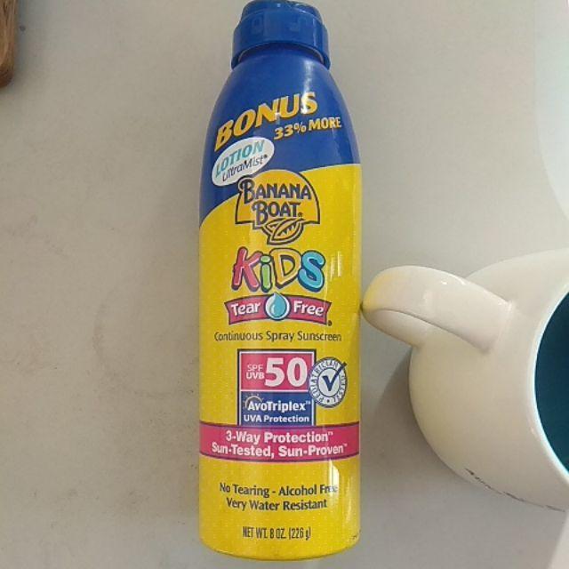 美國Banana boat spf50 孩童專用防曬不哭泣配方乳液噴霧 8盎司增量