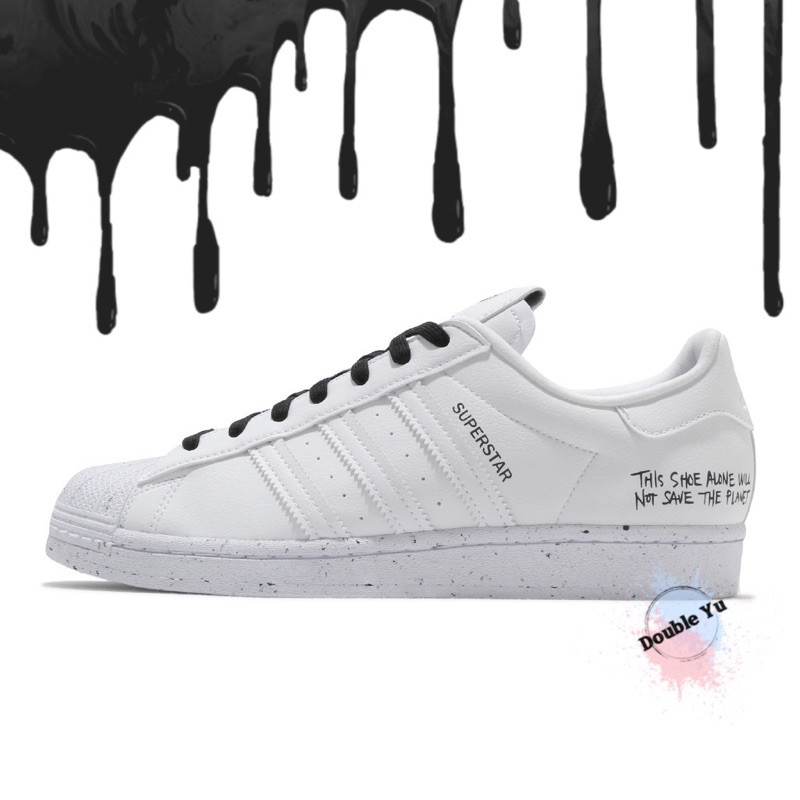 DY• ADIDAS OG SUPERSTAR SUSTAINABILITY 白黑 潑墨 標語 復古 男 FW2293
