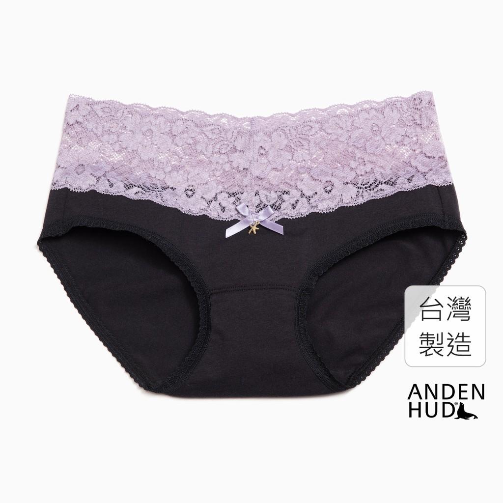 【Anden Hud】迪士尼反派系列.V蕾絲中腰三角內褲(黑-海星綴飾) 台灣製