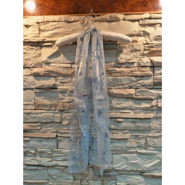 花系列長款絲圍巾(淺藍)