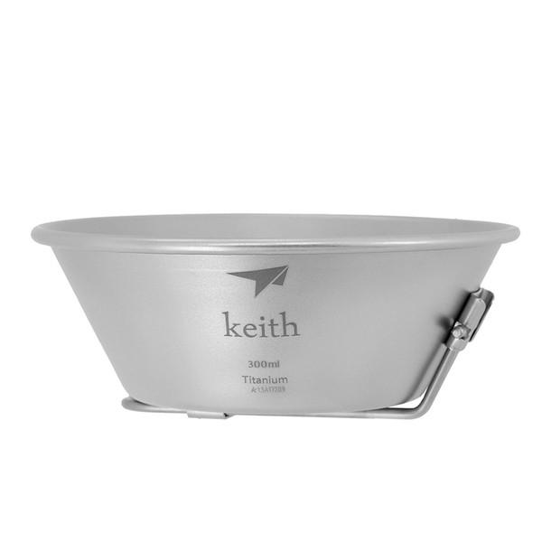 鎧斯Keith Ti5320純鈦輕量環保折疊把柄湯碗【露營狼】