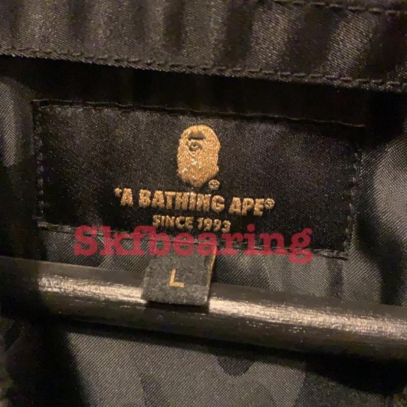 A Bathing ape BAPE 皮革 鯊魚 黑金 MA 1 外套 L 日本製 MA1 皮外套
