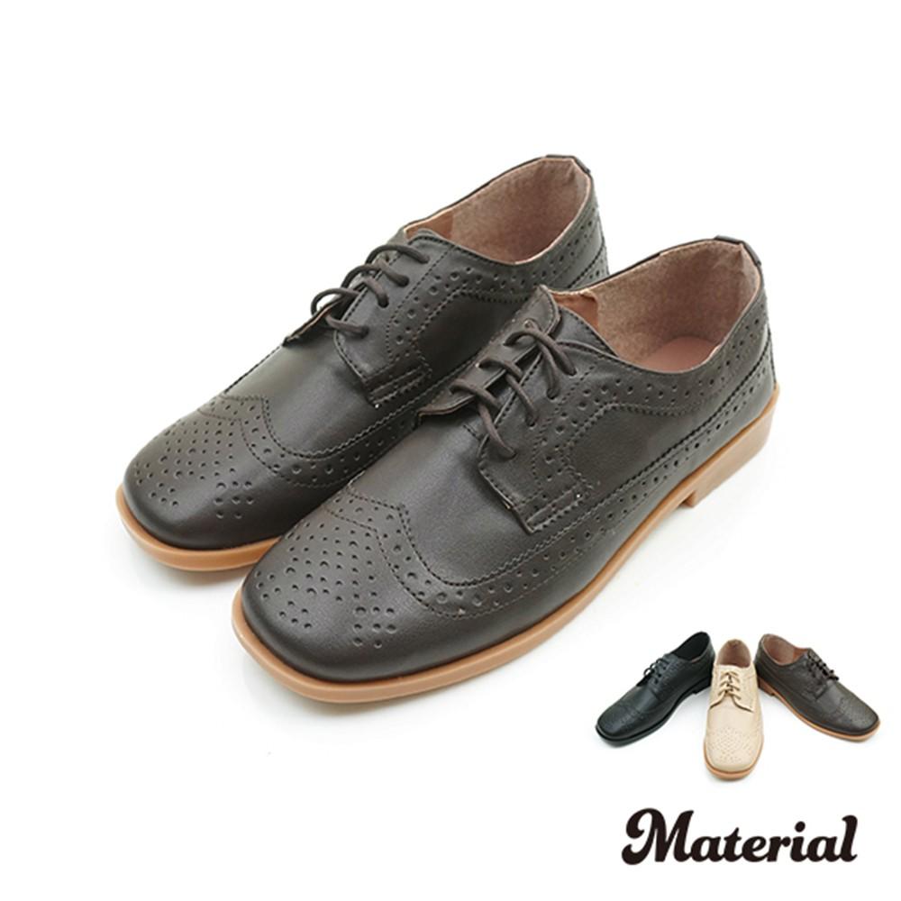 牛津鞋 復古雕花方頭牛津鞋 T5191