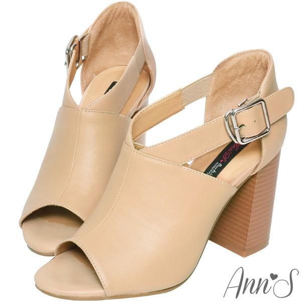 Ann'S打造激瘦體態-V口剪裁粗跟踝靴-黑