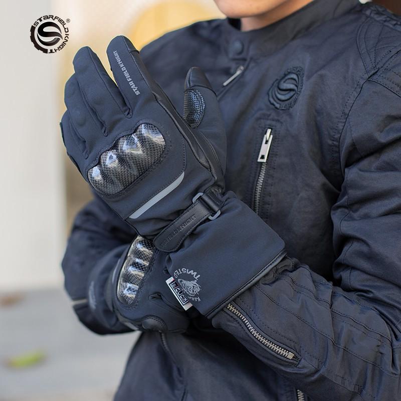 rline摩配星空騎士冬季騎行保暖防水手套防摔抗震戶外滑雪加絨防滑夜間反光