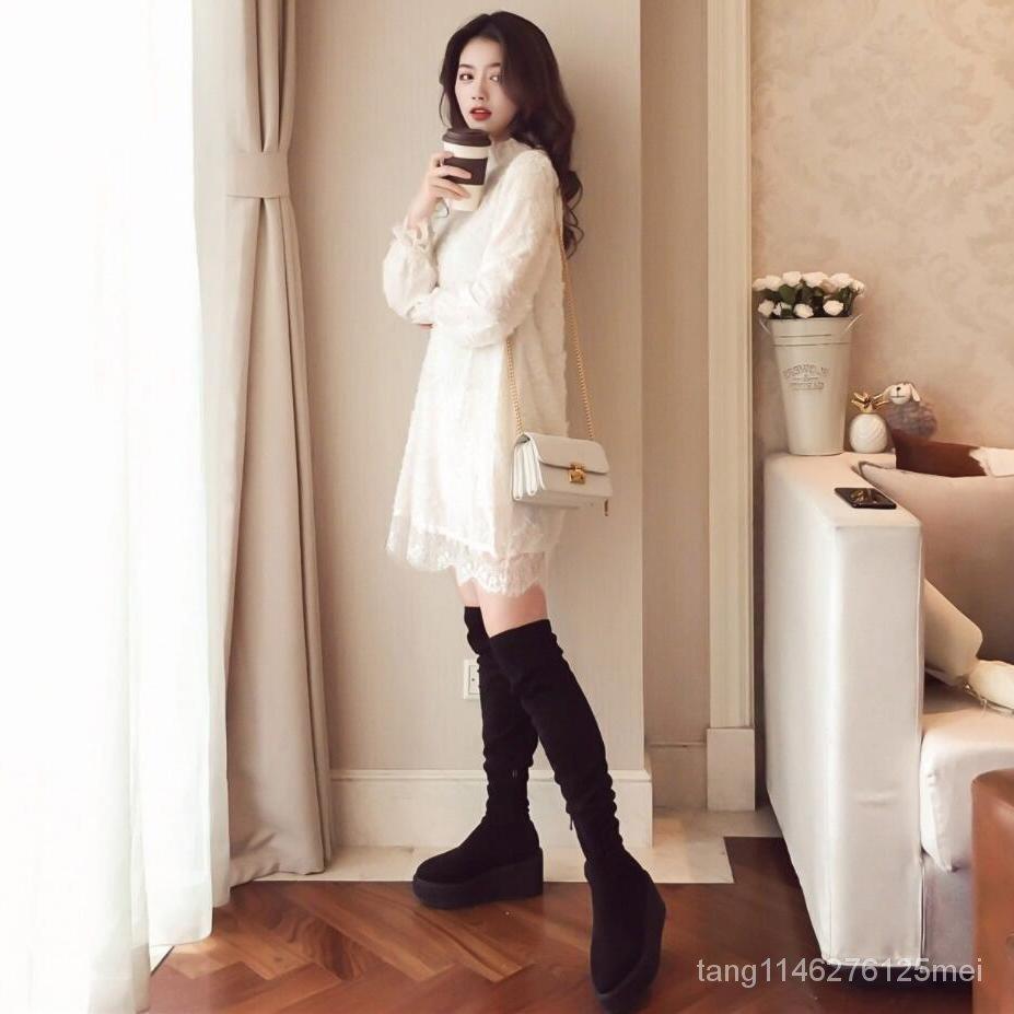 加絨寬鬆打底衫加厚顯瘦百搭秋冬連衣裙中長款新款蕾絲女韓版雪紡
