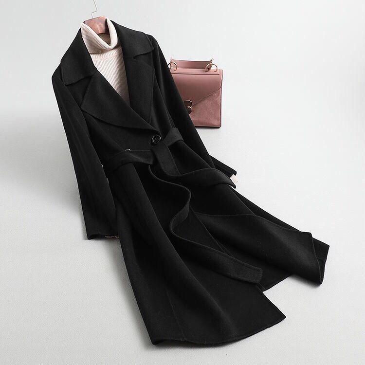 現貨 免運 毛呢大衣 女 赫本風 毛呢外套 潮ins 秋冬 新款 寬鬆 雙排扣 西裝領 純色 呢子大衣 防風外套 包郵