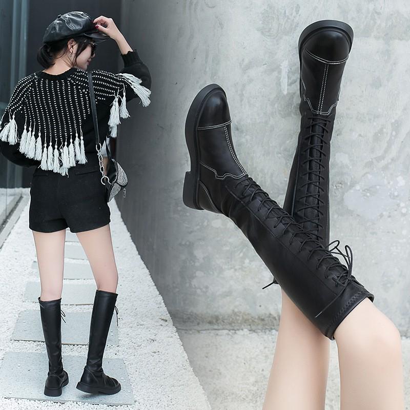 【CQ】长筒靴女不过膝2020秋新款高筒靴皮靴弹力靴子骑士靴绑带瘦瘦长靴