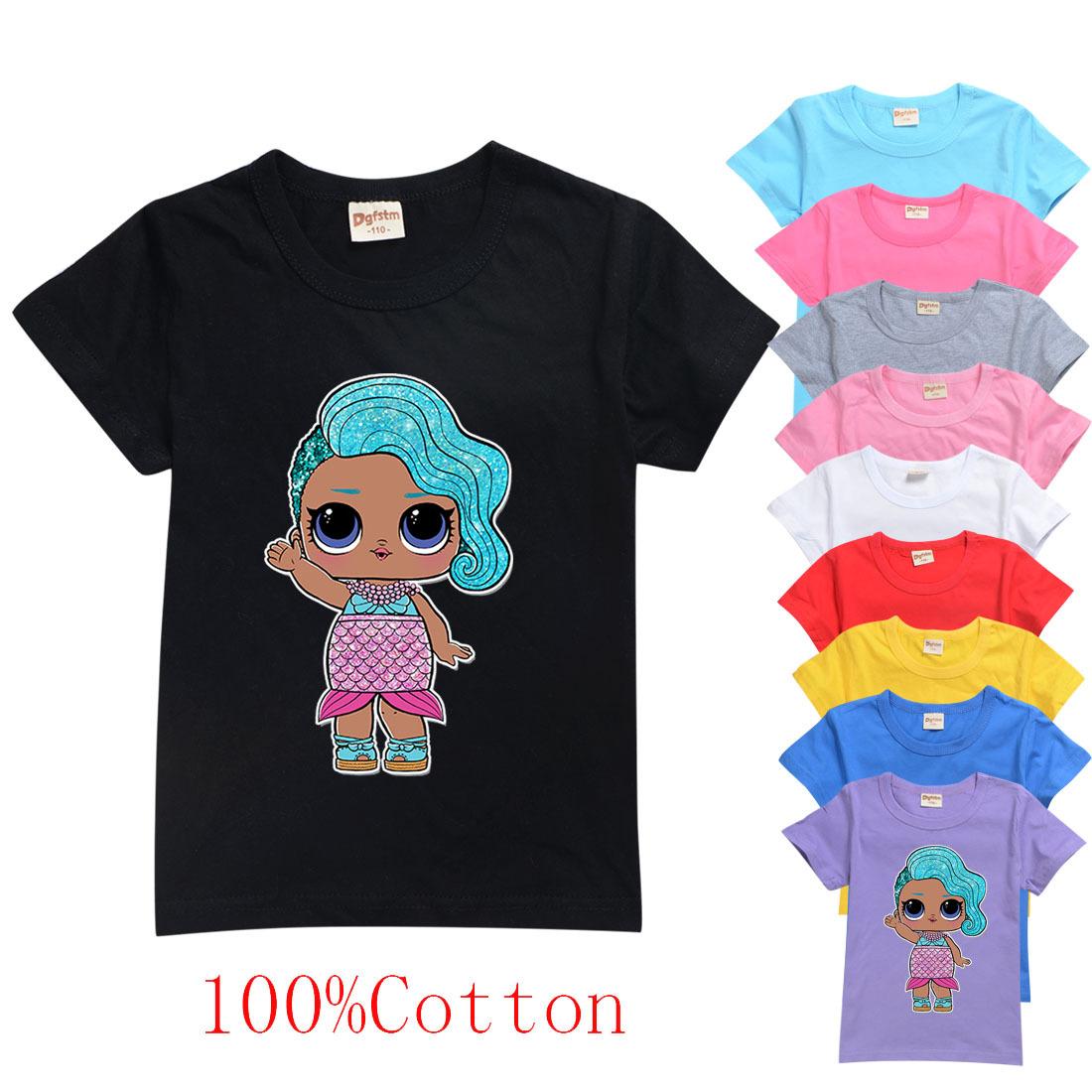 驚喜娃娃 NaNaNa Surprise 男孩女孩短袖T恤女童裝純棉印花短袖T恤6395 兒童上衣夏季休閑時尚圓領上衣