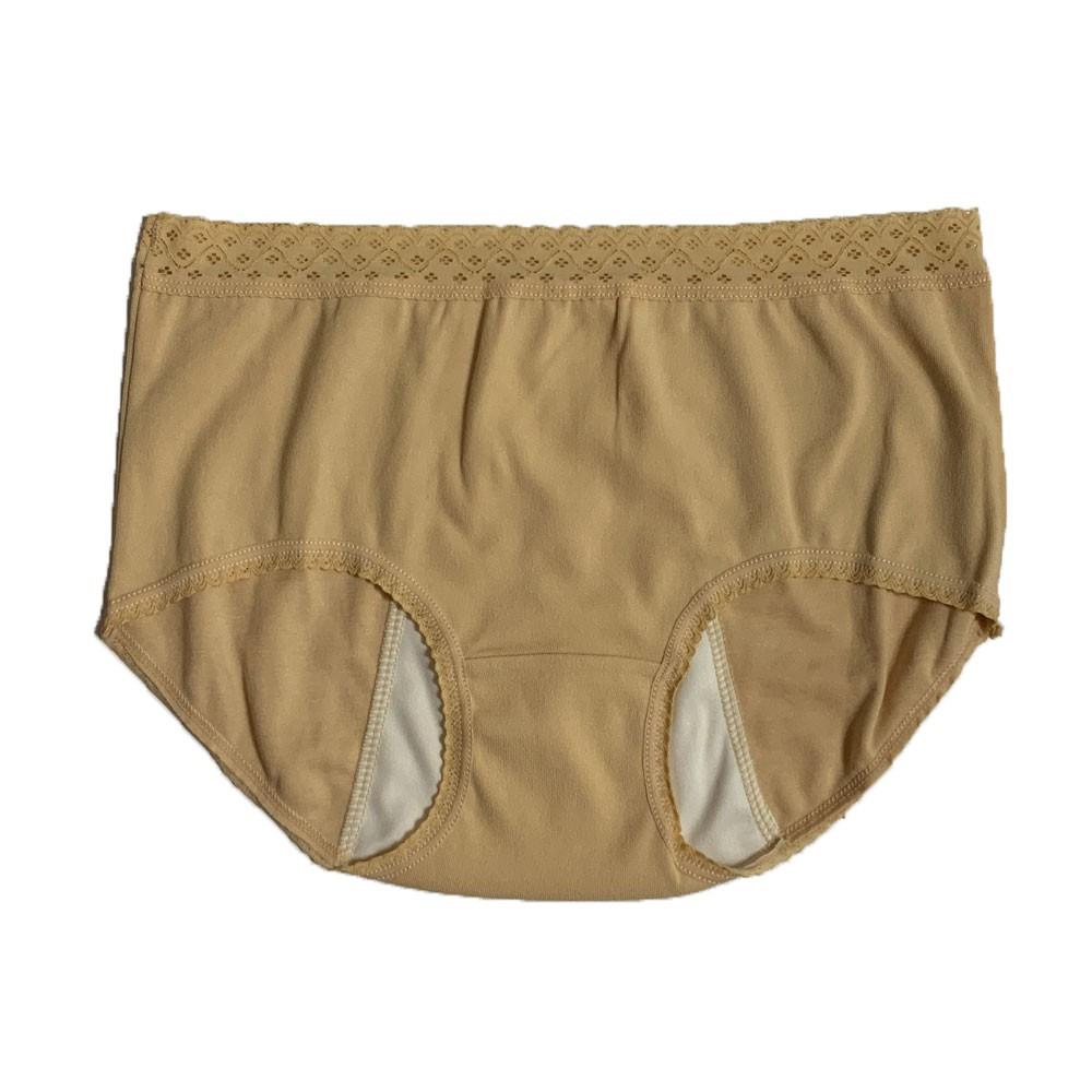 【MatchShop】台灣製素色長蕾絲中腰生理褲-黃