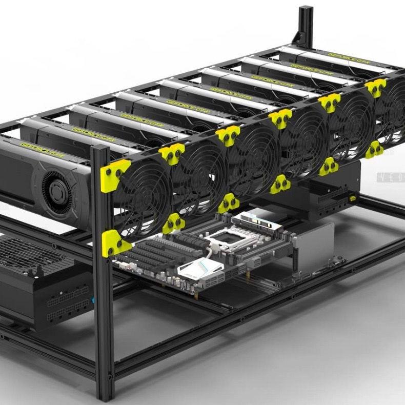 挖礦機 比特幣.乙太幣 礦機 多顯卡疊加架出口顯卡礦機架ETH以太坊專用礦機架鋁合金服務器平臺機箱可疊加