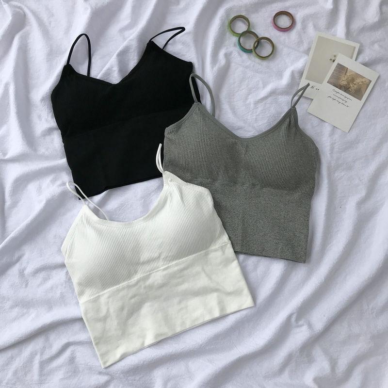 [現貨] 背心女 防走光上衣性感吊帶美背短款顯瘦打底衫 細肩帶背心 夏季外穿裹胸內搭打底衫
