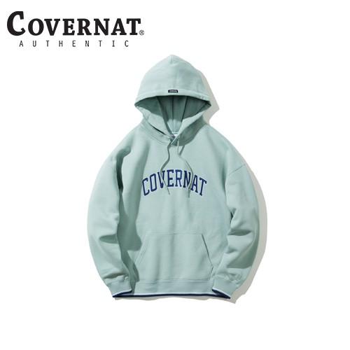 [COVERNAT] 2020秋冬 斜織拱形LOGO連帽T - 薄荷色