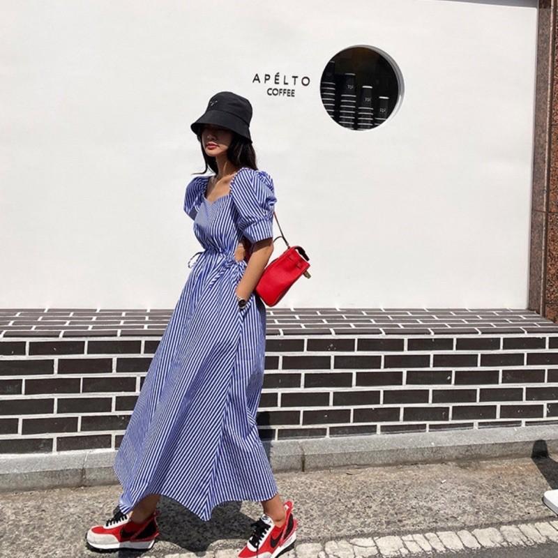 現貨〰️韓國同款/直條公主袖長洋裝