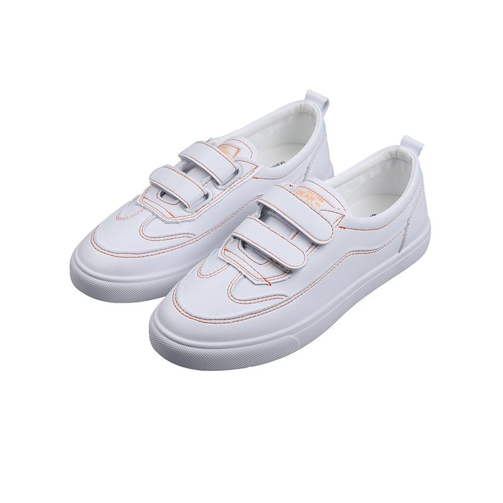 新款-小白鞋女2020年秋季新款厚底百搭白鞋平底粘貼休閑魔術貼運動鞋子