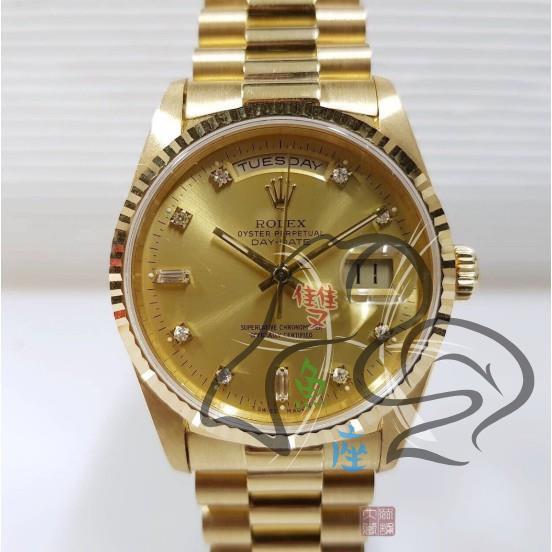 ROLEX勞力士 18k金 紅蟳 18238 原廠十鑽面盤 3155自動機芯 錶徑36mm 編號3226