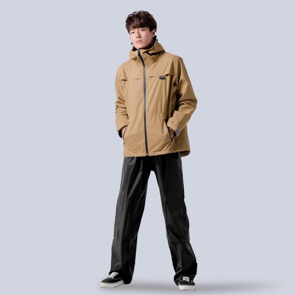 BrightDay 背MAX外套兩件式雨衣(搭配黑色尼龍雨褲) 棕 兩件式雨衣 雨衣《比帽王》