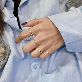 Bene 戒指套裝 6 件套簡約韓國時尚戒指女女孩時尚珠寶禮物金戒指 Cincin