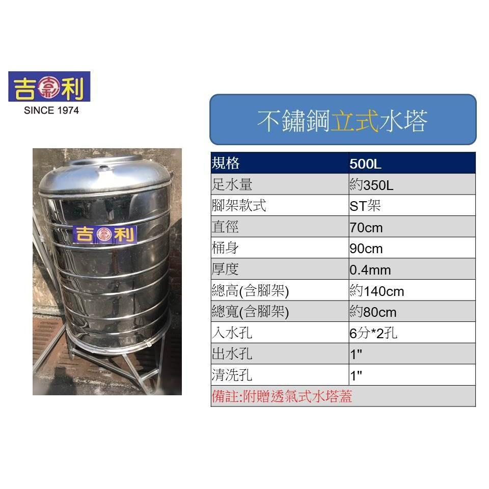 吉利-立式不鏽鋼水塔-型號500L