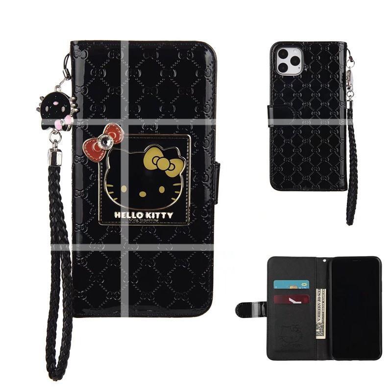 古馳GUCCI聯名hellokitty貓蘋果11promax xr手機殼8plus翻蓋插卡錢包鏡子iphone XS皮套