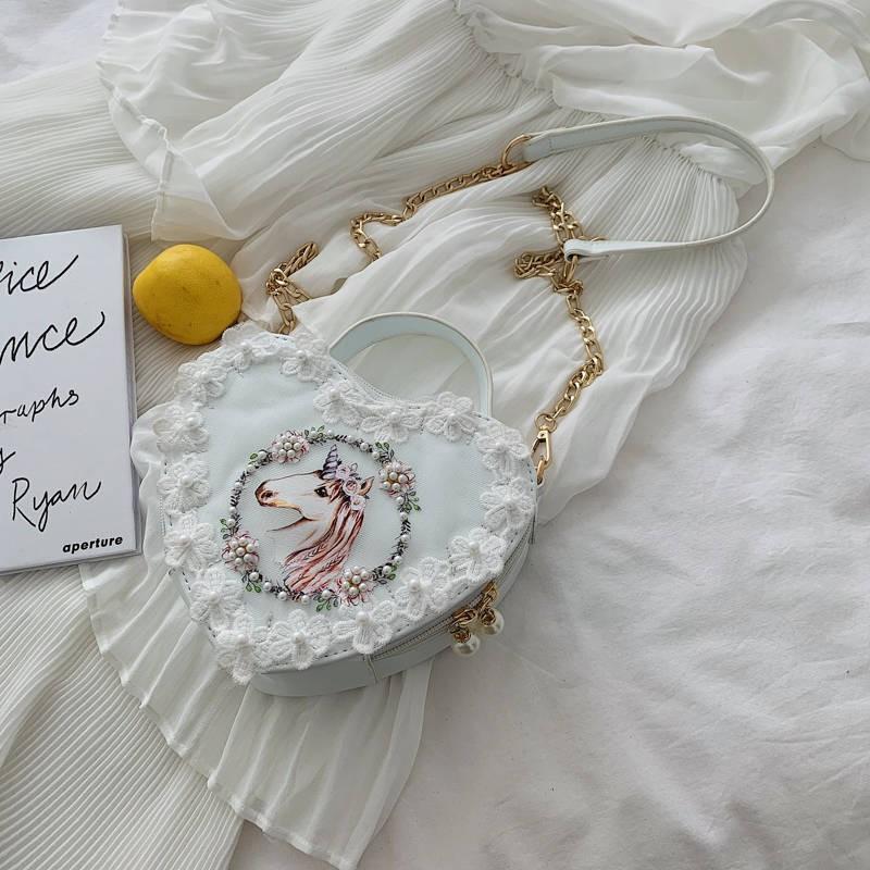 原創lolita包可愛少女日系花邊蕾絲軟妹洛麗塔愛心單肩斜挎手提包▷