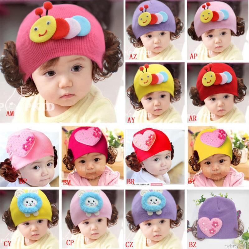 商標女嬰卡通假髮設計帽子