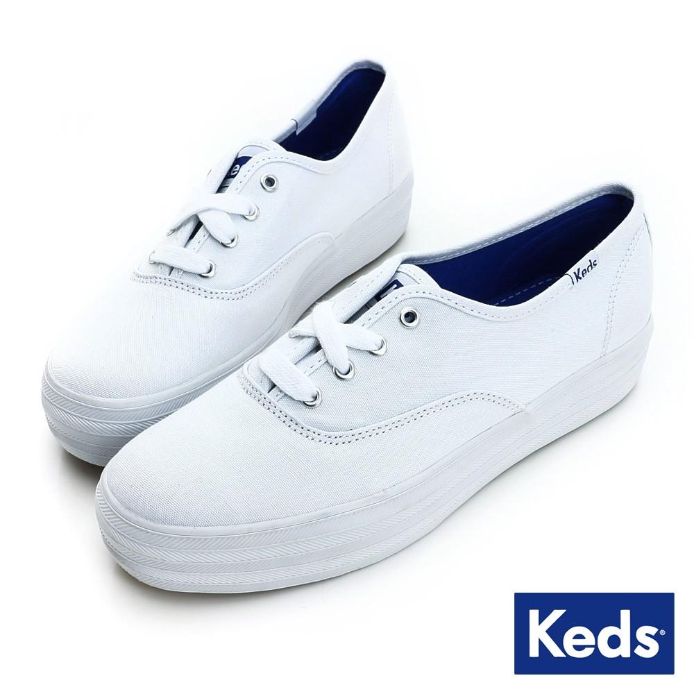 Keds TRIPLE 經典厚底帆布小白鞋-白