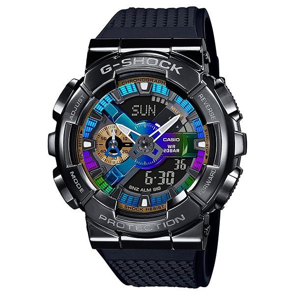 【金台鐘錶】CASIO卡西歐G-SHOCK (全黑金屬質感不鏽鋼)搭配樹脂錶帶(繽紛色彩的錶盤) GM-110B-1A