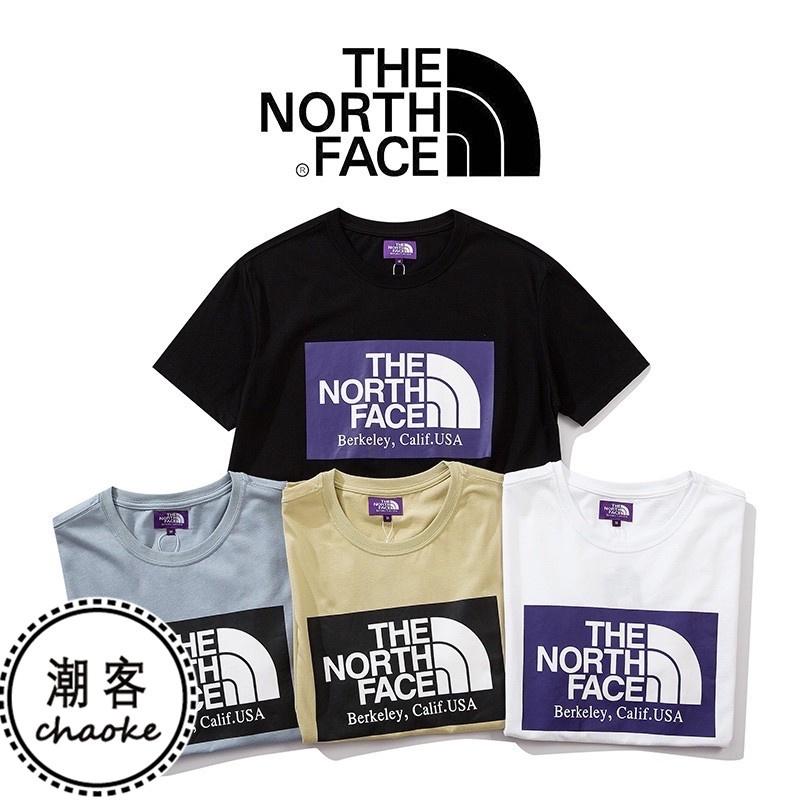 THE NORTH FACE 日版 北面 紫標 大logo 短袖T恤 北臉短袖 方塊logo TEE