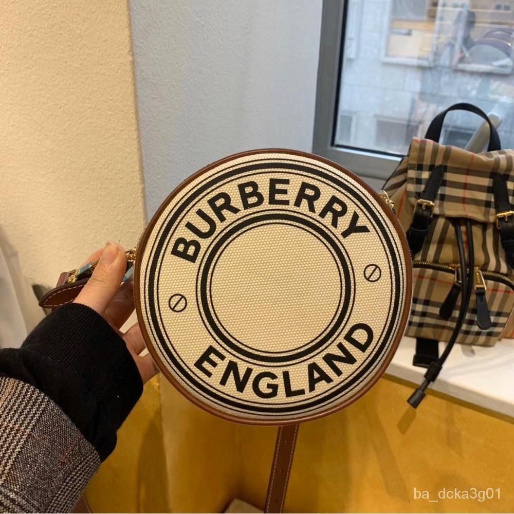 二手 Burberry巴寶莉Louise圓餅徽標帆布拼皮革雙層腰包單肩包手拿包
