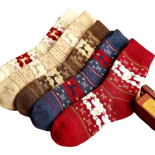 聖誕襪子 保暖襪子 紅色節日襪子襪子女襪中筒襪女秋冬保暖加厚仿兔羊毛襪卡通棉襪子女韓版長筒襪