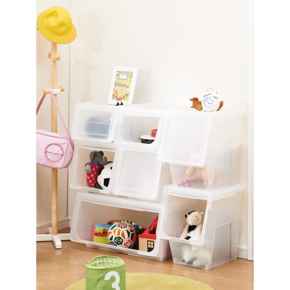 斜口收納箱 抽屜收納柜 收納用品日本天馬株式會社前開式河馬口收納箱玩具整理箱大號箱子面寬30