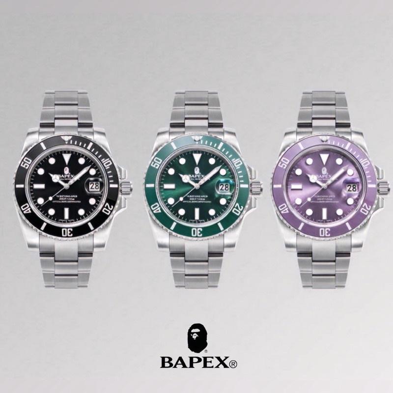 🇯🇵預訂日本正品BAPEX Type 1 代購黑/ 紫 綠水鬼 機械錶 手錶 猿人頭 潮流 滑板 鋼帶 bape ape