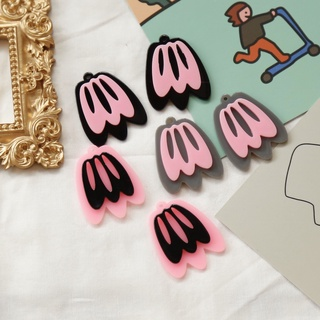 【樹脂/ 亞克力珠子類產品】小眾設計師款明艷色系撞色鏤空花花組合吊墜樹脂貼片DIY耳環配件 SRQJ