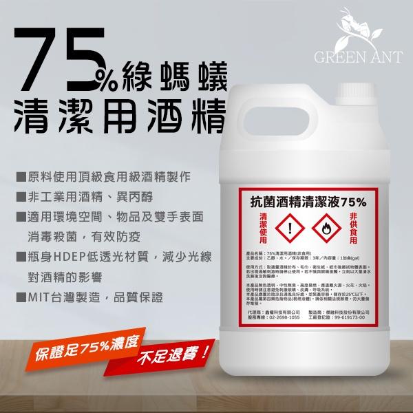 【現貨供應】75%抗菌酒精一桶 1加侖 / 乙醇 食用級酒精清潔液【一箱5桶裝】