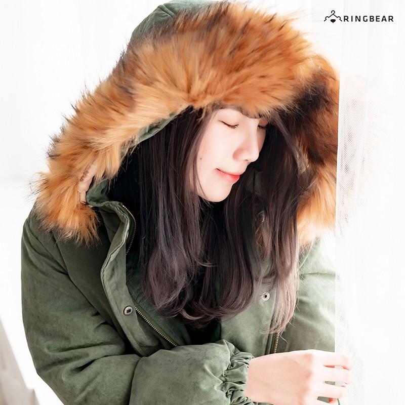 時尚保暖毛領連帽英字刺繡鬆緊拉鍊口袋羽絨外套(綠.卡其L-4L)-J269眼圈熊中大尺碼
