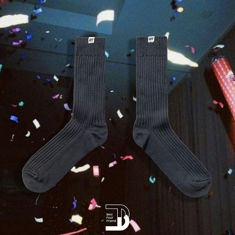 BEST FOOT FRIEND BF210001-BK 純色泡泡襪 BFF 中筒襪 / 小腿襪 (碳黑色) 化學原宿
