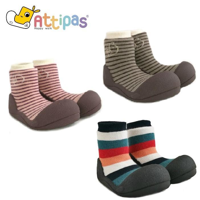 韓國 Attipas 快樂腳襪型學步鞋 - 棕/紅紋森林 / 彩紅黑底