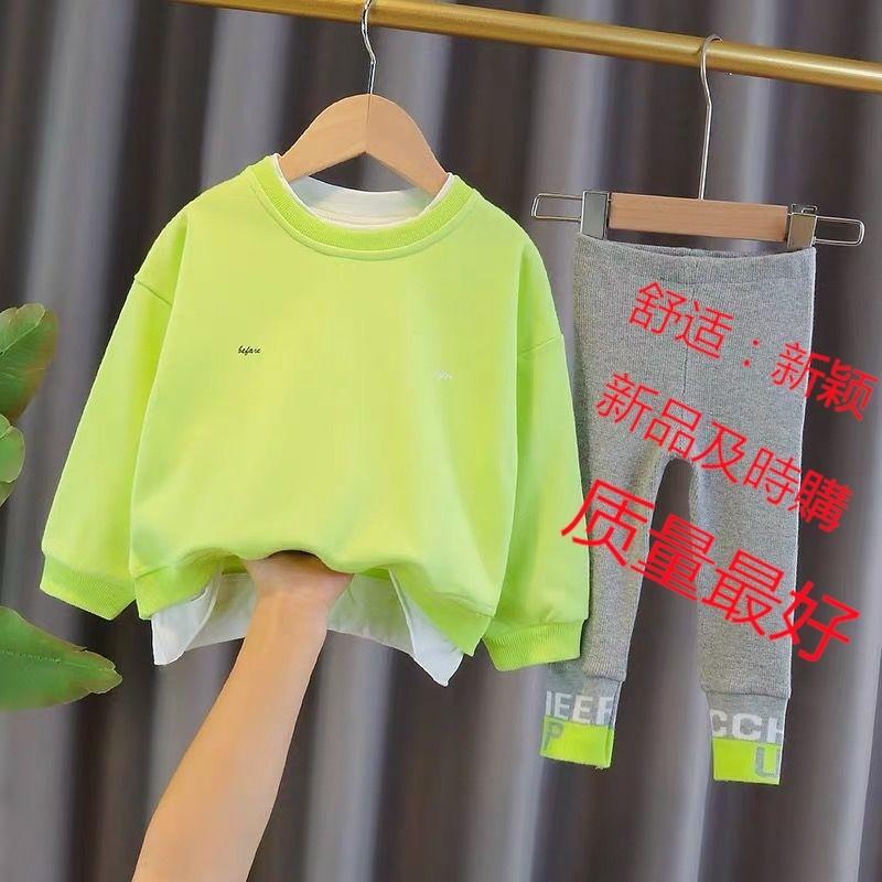 【韩版:现货】女童網紅薄款春秋裝寶寶洋氣時髦秋季嬰兒童新款套裝韓版秋裝衛衣