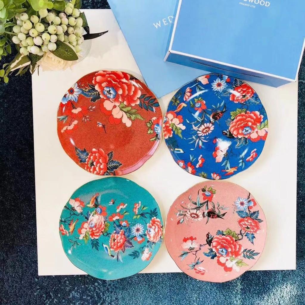 🛍️🎁英國瑋致活(Wedgwood)牡丹系列骨瓷21cm餐盤四件套禮盒套裝