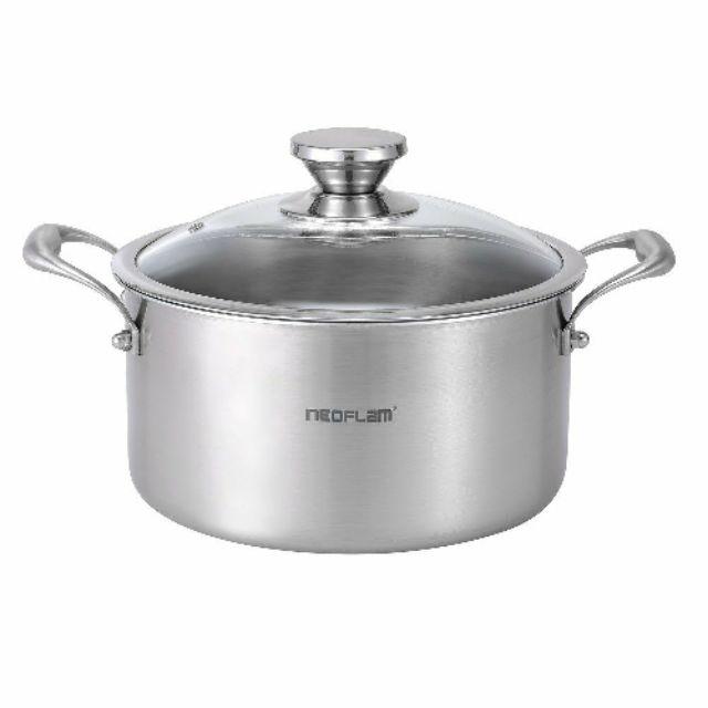 NEOFLAM 316不鏽鋼雙耳湯鍋24CM 附玻璃鍋蓋 疫情在家煮 清洗容易♥完整盒裝 全新品 再送好禮6選1